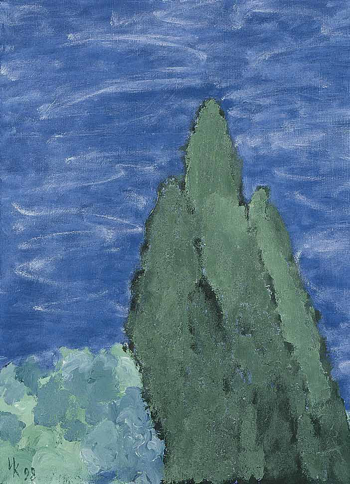 Three Cypresses (60х50). Tempera on canvas. 1998