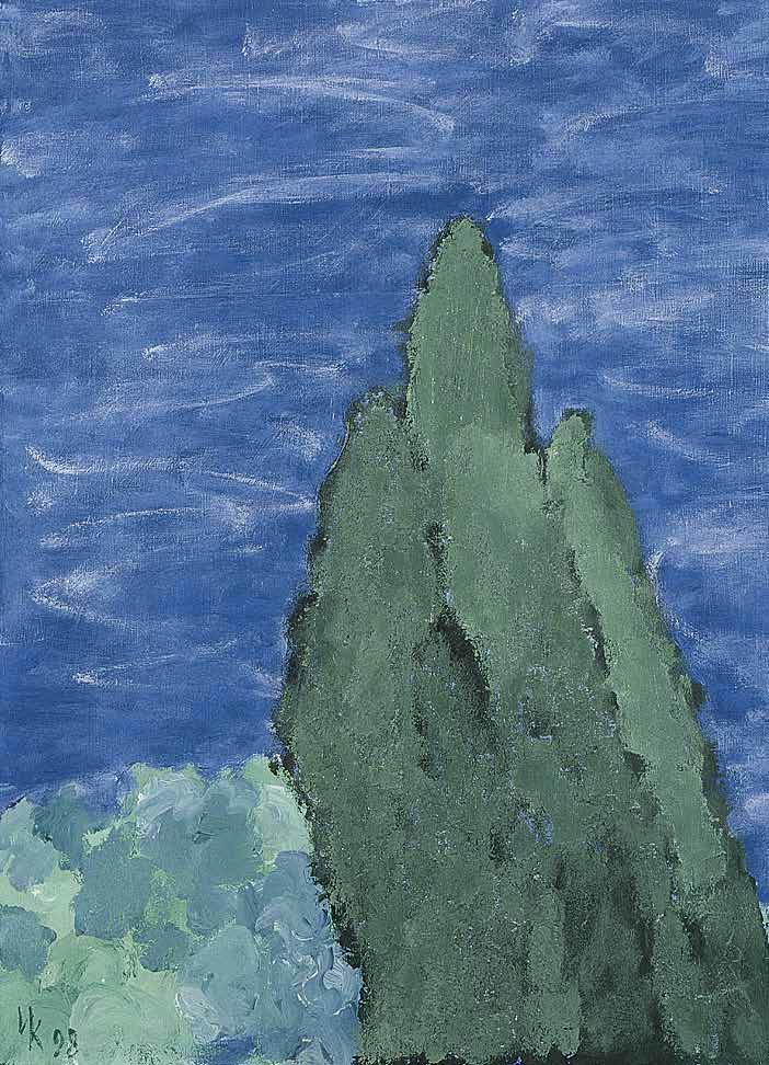 Three Cypresses (60х50). Tempera on canvas. 1998